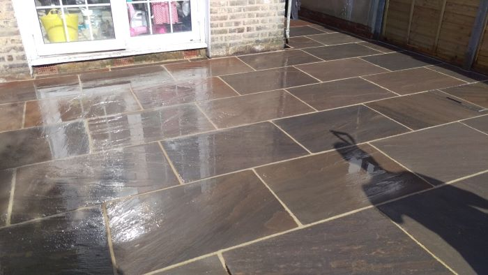 sandstone paving for a landscaping job in twickenham
